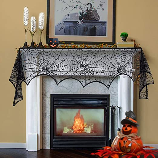 Lulu Home Halloween Fireplace Decorations, Fireplace Mantle Scarf Cover,  Black Lace Spider Web for Door, Window and Flowerbeds Decoration, Halloween  ...
