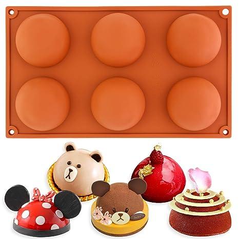 6 Semi Esfera Half Round Bakeware del silicón Molde cúpula Chocolate Bombe Pan 295x175x33mm Cada Domo