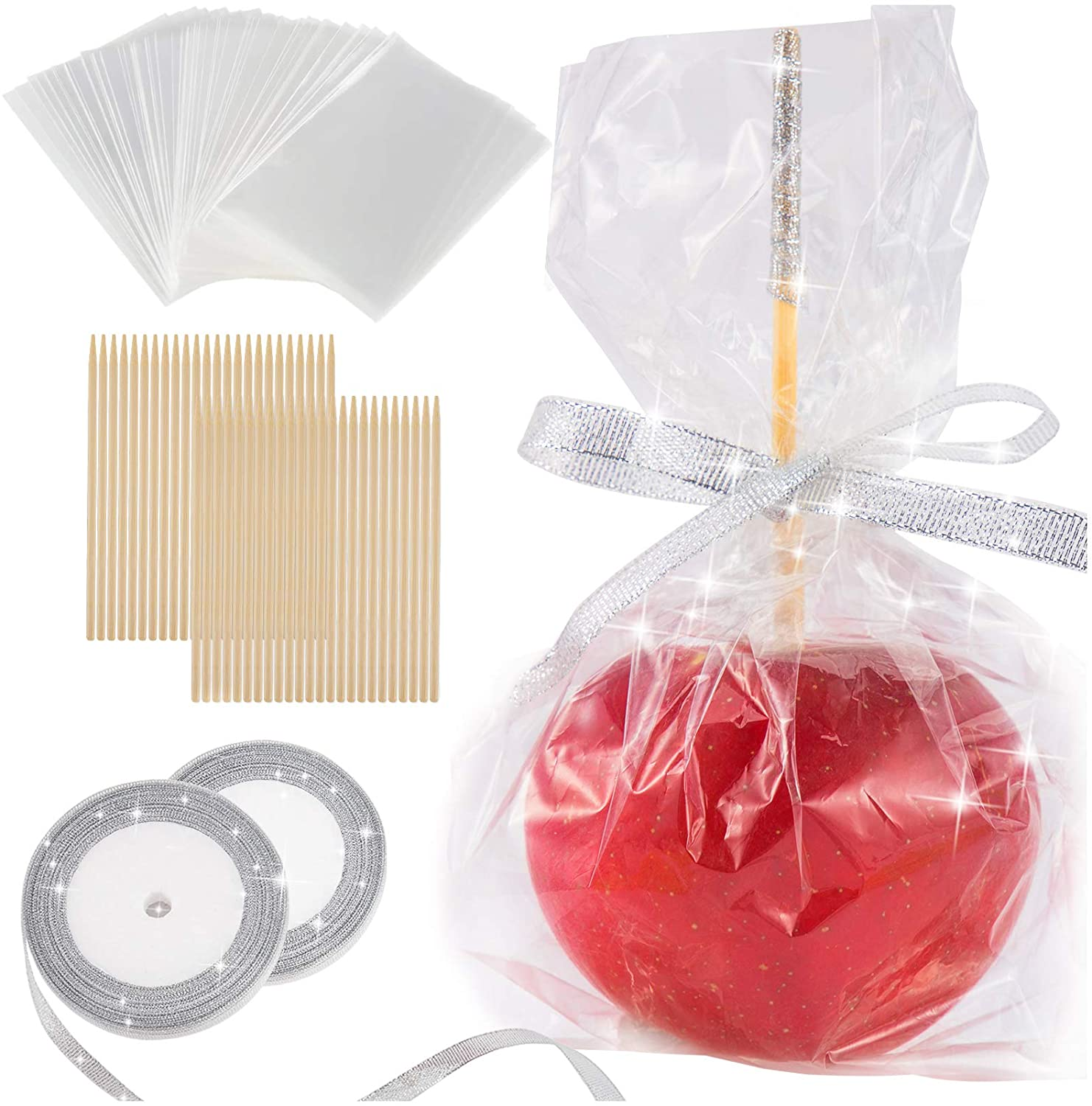 DIY Candy Apple Making Accessory Kits-Include 48 Pcs Bamboo Sticks & Parcel Bags and 2 rolls of 25 yd Glitter Ribbon Large Lollipop Pop Kit for Fruit Cookie Wrapping Buffet Party (Silver)