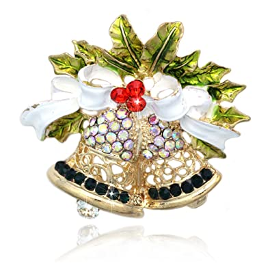 Christmas Brooches Christmas Bows Sleigh Bells Brooches Christmas Pendant Drop Ornaments Hanging Christmas Decoration Fashion Jewelry