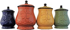 French Tradition Fleur-De-Lis Hand-Painted 4-Piece Food Storage Canister Set Multi Color Solid Ceramic Handmade Non-Stick Surface