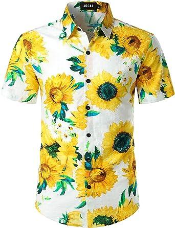 JOGAL Camisa hawaiana de manga corta para hombre, diseño floral con piña
