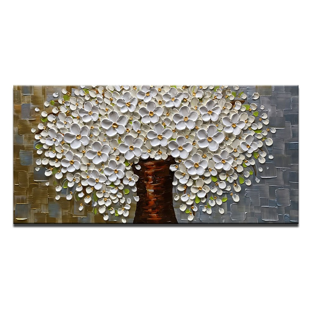 Azure Art-Abstract Wall Art White Flowers Painting Modern Oil Painting on Canvas Hand Painted Art Long Texture Wall Pictures Framed Stretched Artwork Living Room Bedroom Wall Decor (20X40 inch)