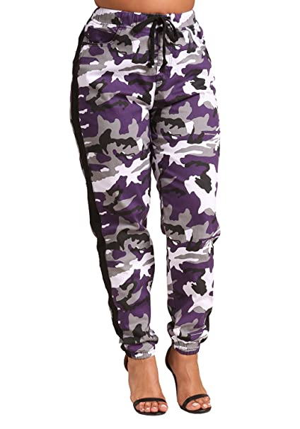 add826563bc Deb Shops Debshops Womens Plus Size Camo Belted Cargo Jogger Pants 3XL  Purple