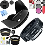 Canon EF-S 24mm f/2.8 STM Camera Lens with Pro 52mm Tulip Hood and 52mm Filter Sets Plus Accessories Bundle