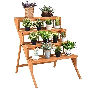 4 Tier estantería para plantas flores Pot Holder pantalla estantes rack soporte escalera paso Madera