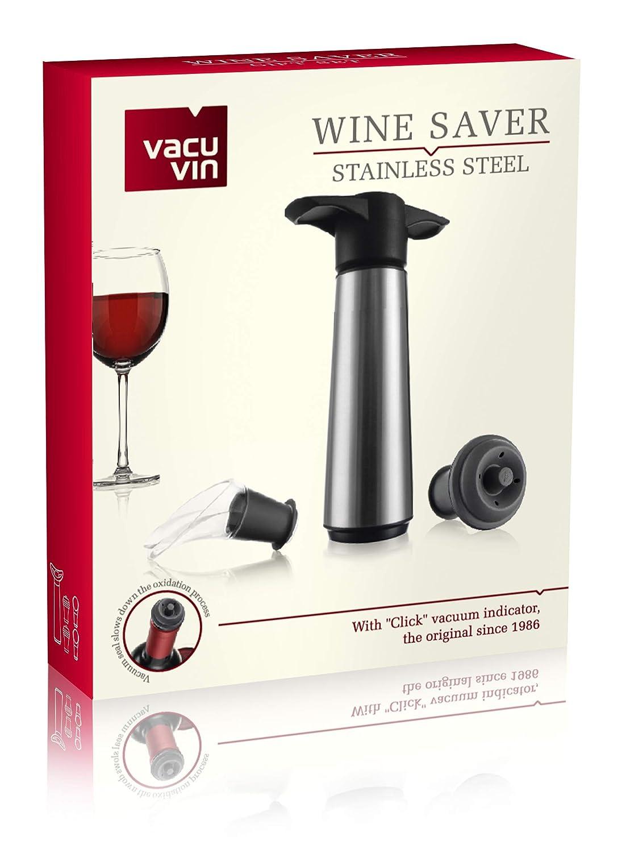 Vacu Vin 0649360-Bomba Bomba de Vacío de Acero Inoxidable (Estuche con 2 Tapones y 2 servidores): Amazon.es: Hogar