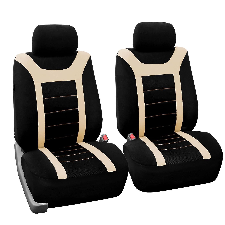 FH GROUP FH-FB070115+FH2033 スポーツ ファブリック カーシートカバー エアバッグ対応 分割ベンチ ハンドルカバー付き ベージュのシートベルトパッド ほぼすべての自動車 トラック SUB バンに適合(右ハンドル車との互換性は保証いたしかねます) FB070102BEIGE-AMZ B01MXM6067 Beige-Pair Set BeigePair Set