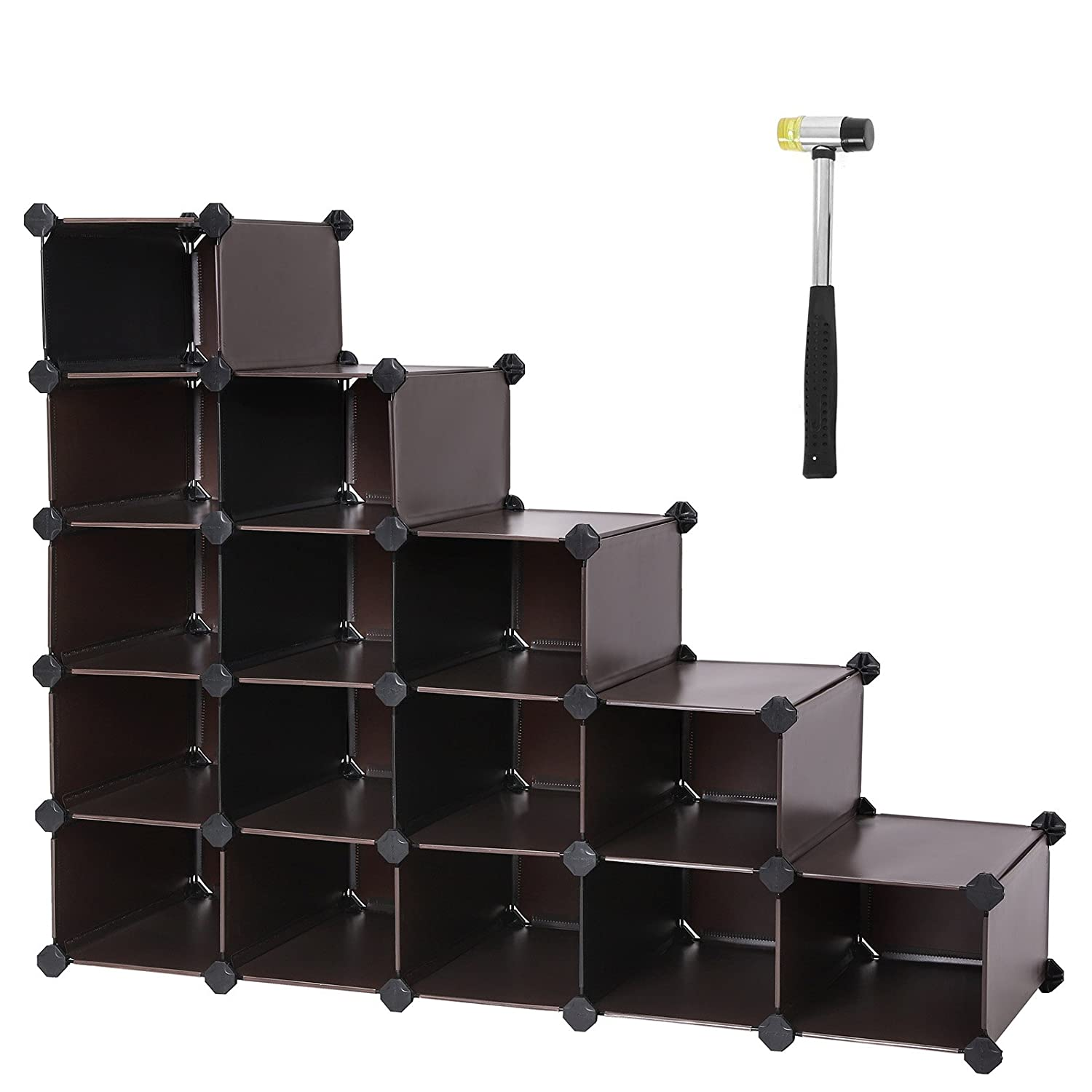 SONGMICS Shoe Rack,16-Cube Modular Cube Storage,Space Saving DIY Plastic Shoe Storage Organizer Units, Closet Cabinet, Ideal for Entryway Hallway Bathroom Living Room and Corridor Brown ULPC44Z