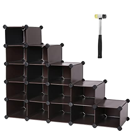 Attirant SONGMICS Shoe Rack,16 Cube Modular Cube Storage,DIY Plastic Storage  Organizer Units
