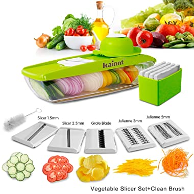 Mandoline Slicer Kainnt Adjustable Mandoline with 5 Thickness Settings Interchangeable Stainless Steel Blades -Vegetable Peeler Slicer+One Clean Brush, Food Container