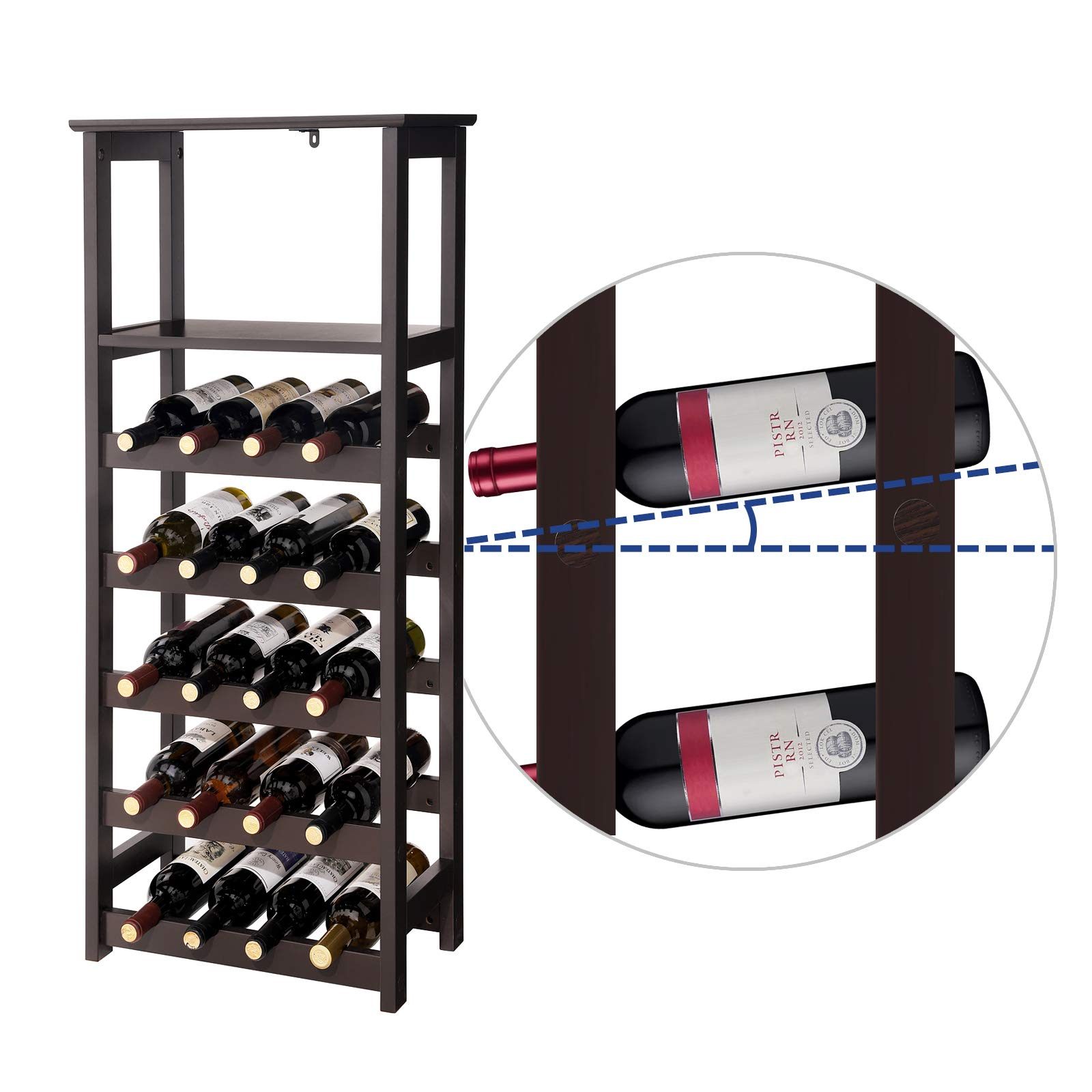 VASAGLE 20 Wooden Wine Rack, Free Standing Bottles Display Storage Shelf, with 2 Slatted Shelves,18.4''L × 10.4''W × 42.9''H, Espresso ULWR03BR by VASAGLE (Image #6)