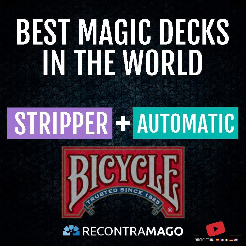 Magia Bicycle Stripper + Automatic - Giochi di Magia Prestigio + Accesso Sito Web Segreto con Video Istruzioni realizzate da Maghi Professionisti Colezzione Bicycle Migliori Mazzi di Carte del Mondo RecontraMago