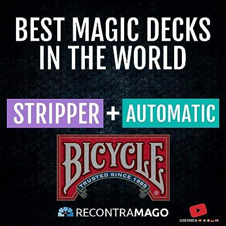 RecontraMago Magia Bicycle - Las Top Barajas Mágicas del Mundo Ahora en Cartas Bicycle - Trucos de Magia para niños y Adultos (AUTOMATICA + Stripper)