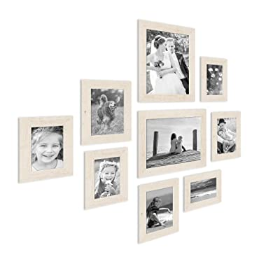 PHOTOLINI Set of 9 Picture Frames, Beach-House Style, Rustic, White, Solid Wood, with 3 Different Dimensions of 4 x 6, 5 x 7 and 8 x 10 Inch