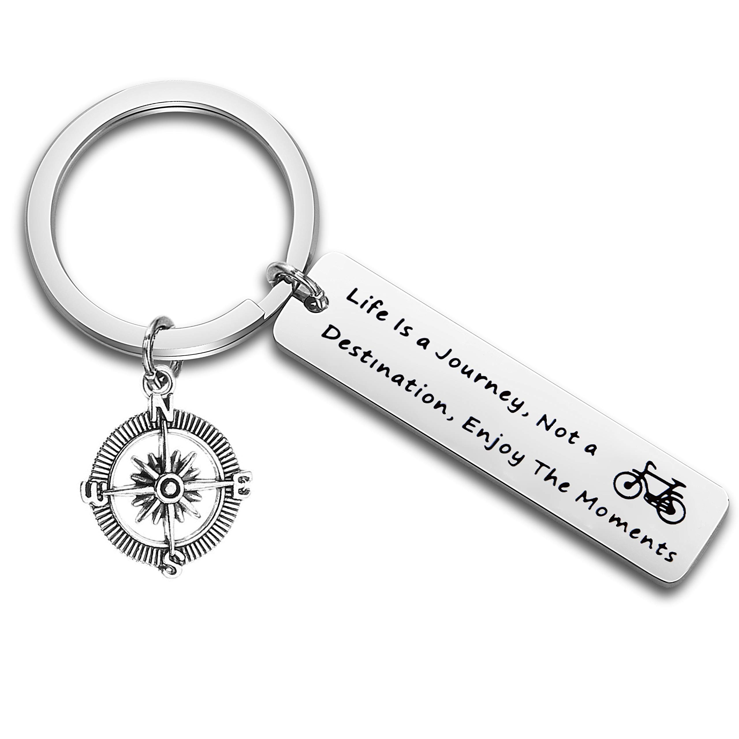 FEELMEM Graduation Gift Ralph Waldo Emerson Quote Keychain Adventure Jewelry Life is A Journey, Not a Destination, Enjoy The Moments (Silver)