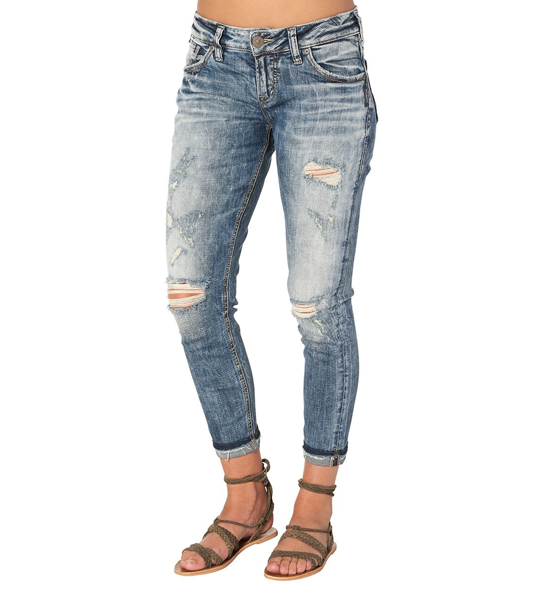 Silver Jeans Women's Co Kenni Mid Rise Girlfriend-Relaxed Skinny, Marble Destroyed, 32