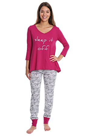 WallFlower Womens Sleepwear 3/4 Sleeve Top and Jogger Set - Mulberry & Grey Camo