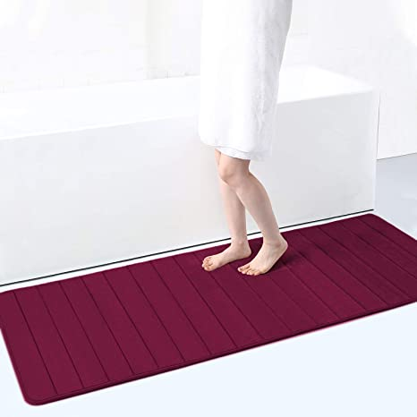 Memory Foam Soft Bath Mats Non Slip Absorbent Bathroom Rugs Extra Large Size Runner Long Mat For Kitchen Bathroom Floors 24 X 70 Wine Red Home Kitchen