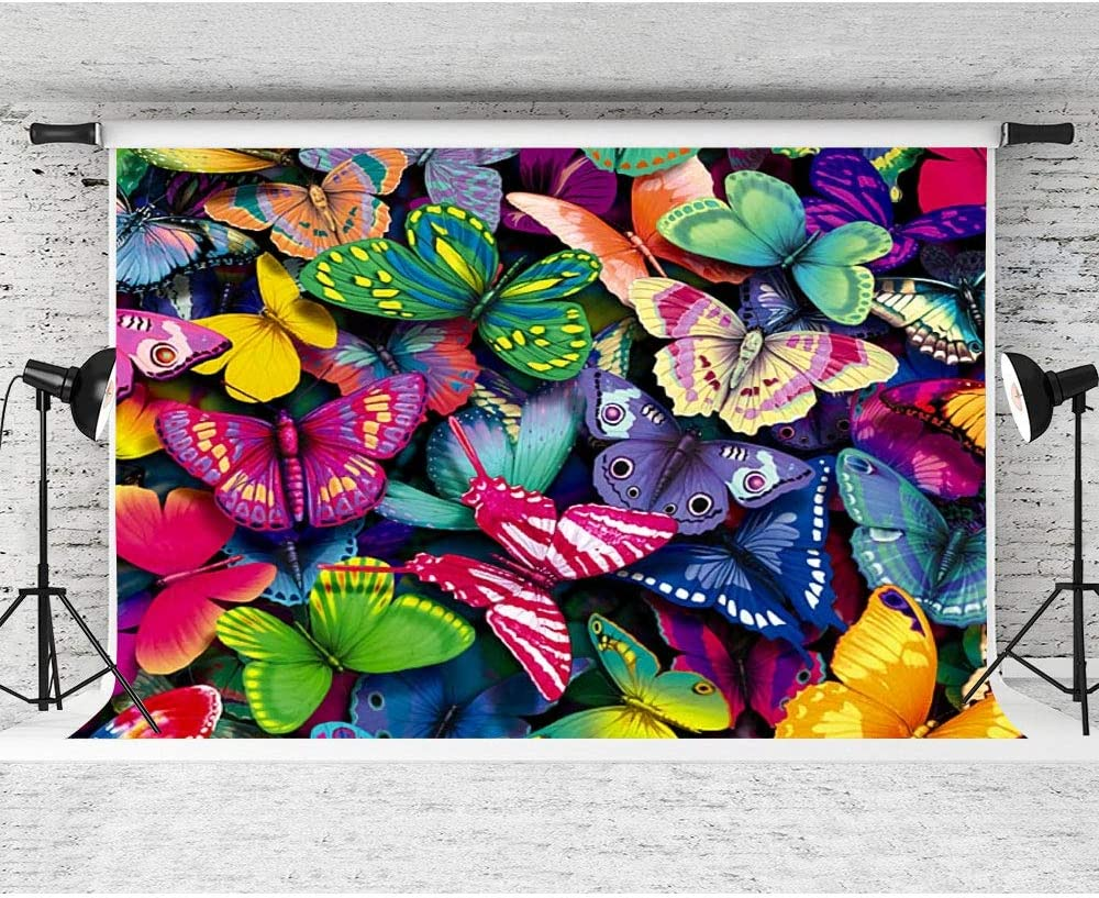 FHZON 7x5ft Butterflies Backdrop Art Backgrounds Theme Party Photography Background Wallpaper Photo Booth Prop MBYYFH22