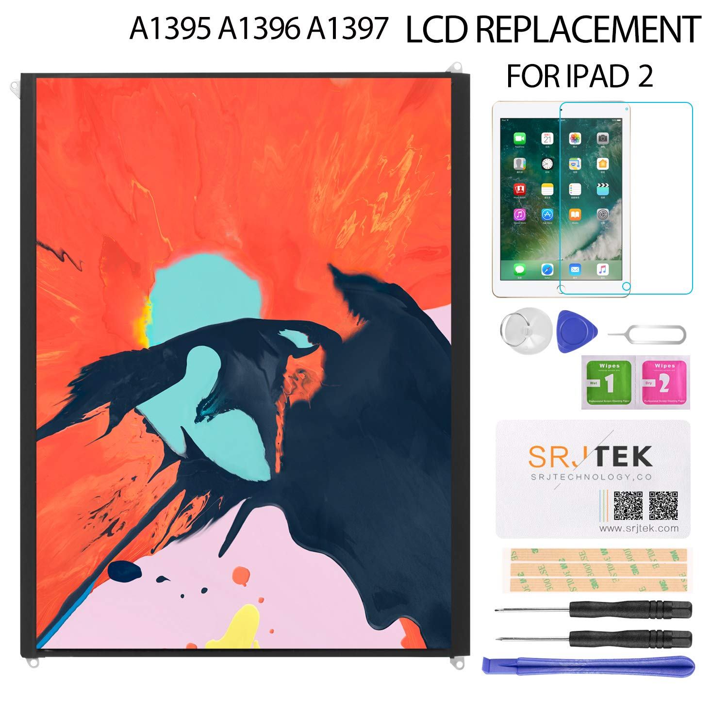 LCD Screen Replacement for IPad 2 - for iPad A1397 A1395 A1396 LCD Display Panel Repair Parts Kit by SRJTEK (Image #6)