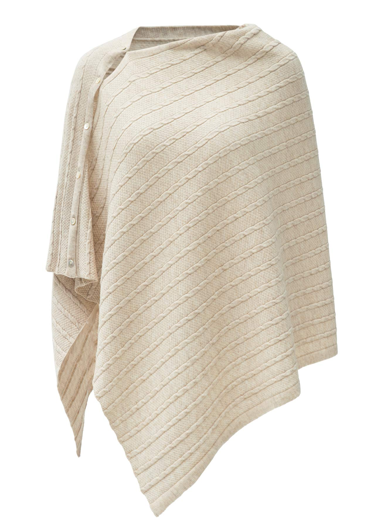 Womens Cable Pattern Lightweight Kintted Poncho Sweater with Shell Button, Versatile Scarf Shawl Cape for Spring Summer Autumn, Barley Twist