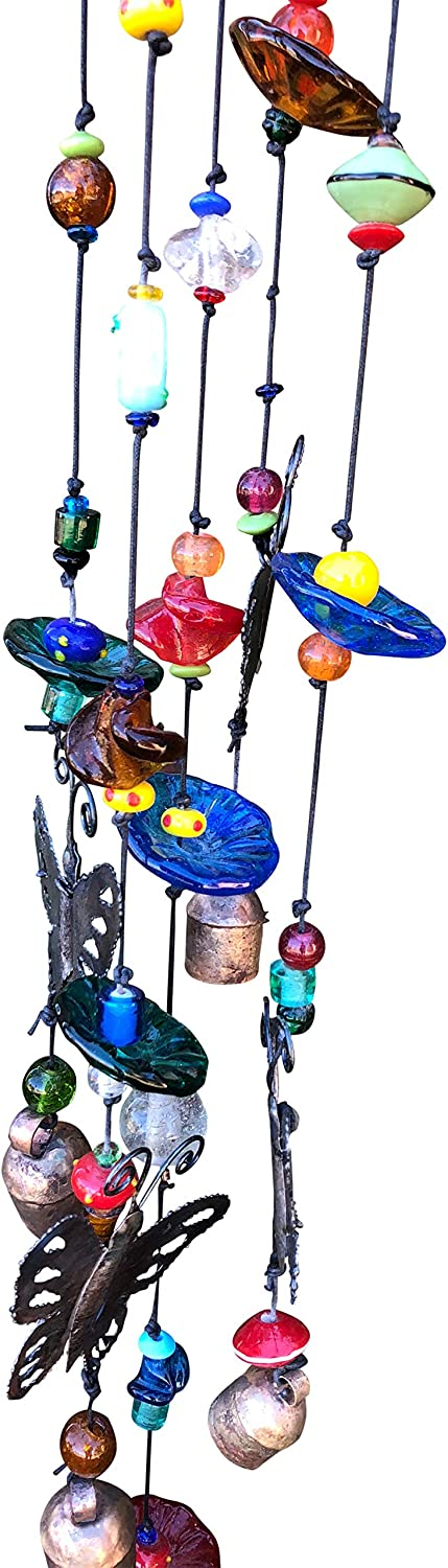Glittering Crystal Beaded Wind Chime with 7 Bells