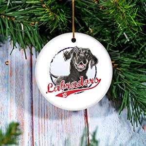 Personalized Ornaments - Team Black Lab Ornament - Christmas Ornament, Ceramic Ornaments, Christmas Tree Ornament, Ceramic Round Decoration, Christmas Decor 2 Pcs