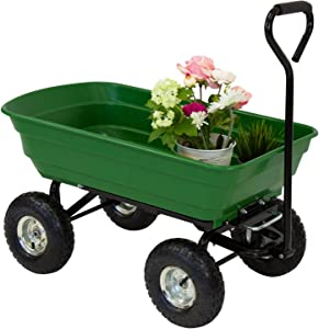 Kinsunny Garden Dump Cart with Steel Frame Pneumatic Tires, 600-Pound Heavy-Duty Wagon Carrier for Outdoor Lawn Riding Yard, Green
