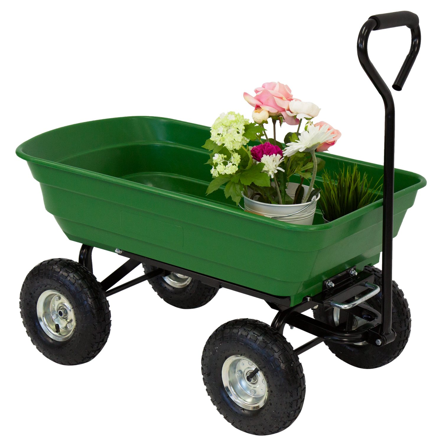 Peach Tree Poly Garden Dump Cart with Steel Frame and 10-in. Pneumatic Tires, 600-Pound Capacity, Green