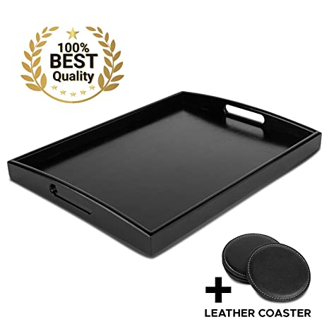Pleasant Decorative Black Wooden Bamboo Serving Tray Platter W Handles For Breakfast Dinner Ottoman Coffee Table Parties Food Home Bathroom Appetizer Unemploymentrelief Wooden Chair Designs For Living Room Unemploymentrelieforg