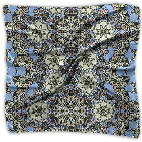 Ornamental Silk Square Scarf - Women's Emulation Silk Scarf Ornamental Ornate Large Square Satin Headscarf 2 Size