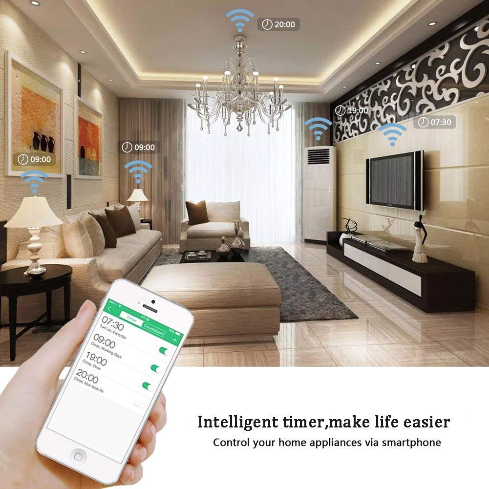 Wifi Smart Plug -15A Mini Usb Dimmer Socket Outlet Works with Alexa IFTTT/Google Home Compatible (APP Remote Control/Timer Switches/Voice/ No Hub Required)