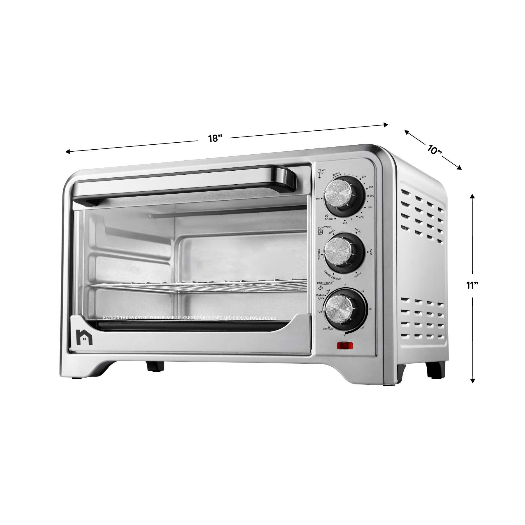 New House Kitchen Stainless Steel Toaster Countertop Convection Oven w/Multiple Temperature Control, X-Large 6 Slice, 6 Cooking Functions Include Bake, Broil, Keep Warm by New House Kitchen (Image #5)