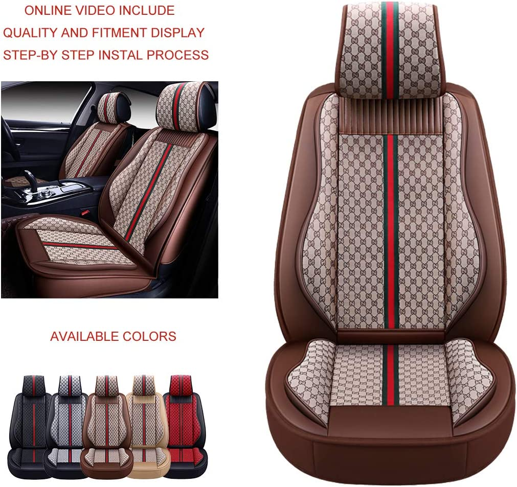 OASIS AUTO OS-007 Leather Car Seat Covers Faux Leatherette Automotive Vehicle Cushion Cover for Cars SUV Small Pick Up Truck Universal Fit Set Compatible with Toyota-Nissan-Honda-Jeep-Subaru Front