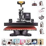 CO-Z 110V Heat Press 360 Degree Swivel 8 in 1 Heat Press Machine Multifunction Sublimation Combo T Shirt Press Machine for Mu