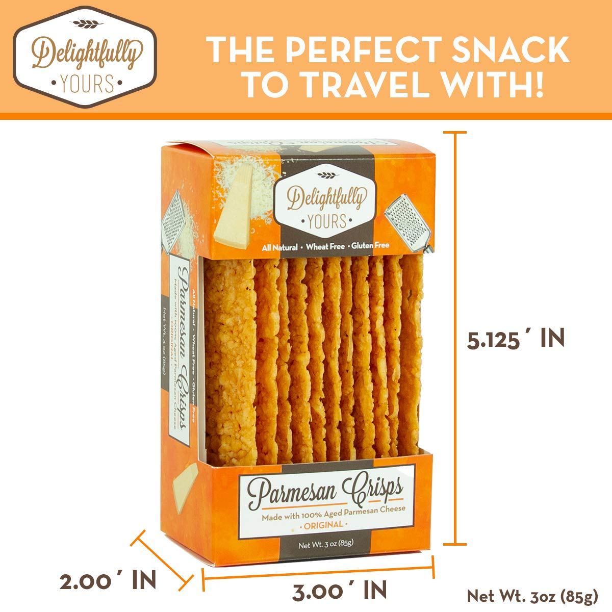 Delightfully Yours: Low Carb Parmesan Cheese Crisps {ORIGINAL Flavor} 100% aged - Flavorful Handmade - Keto Friendly Snack - All Natural - Wheat Free - Gluten Free - Protein Packed 12 OZ (4 PACK) by Delightfully Yours (Image #2)