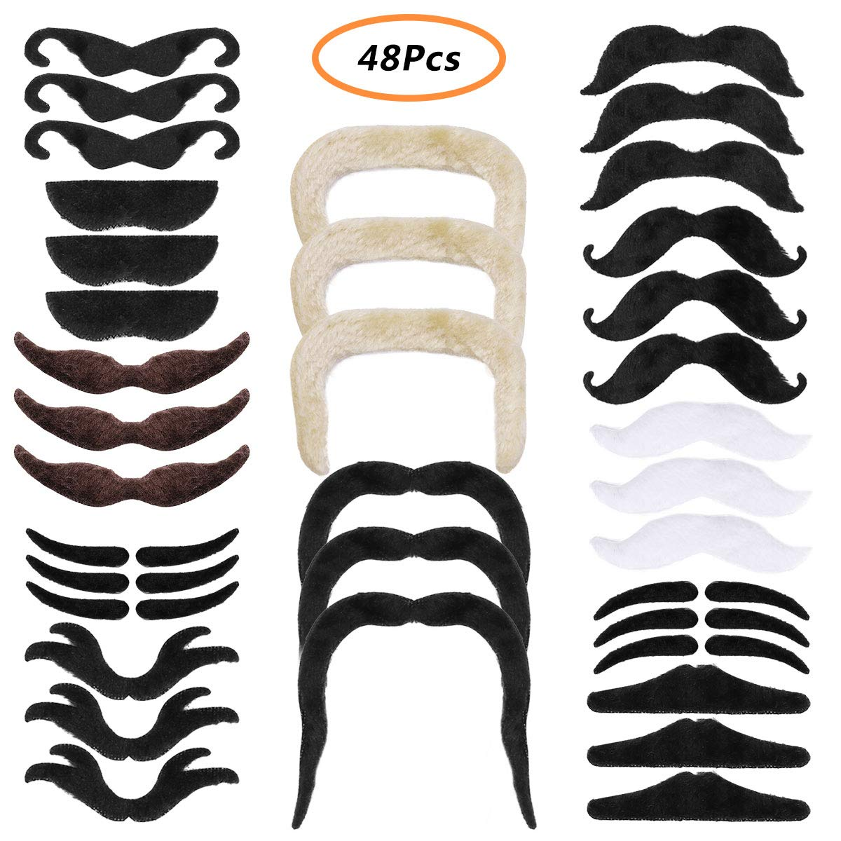 CHICTRY 48 Pcs Novelty Fake Mustaches Self Adhesive Fake Beards Party Decorations