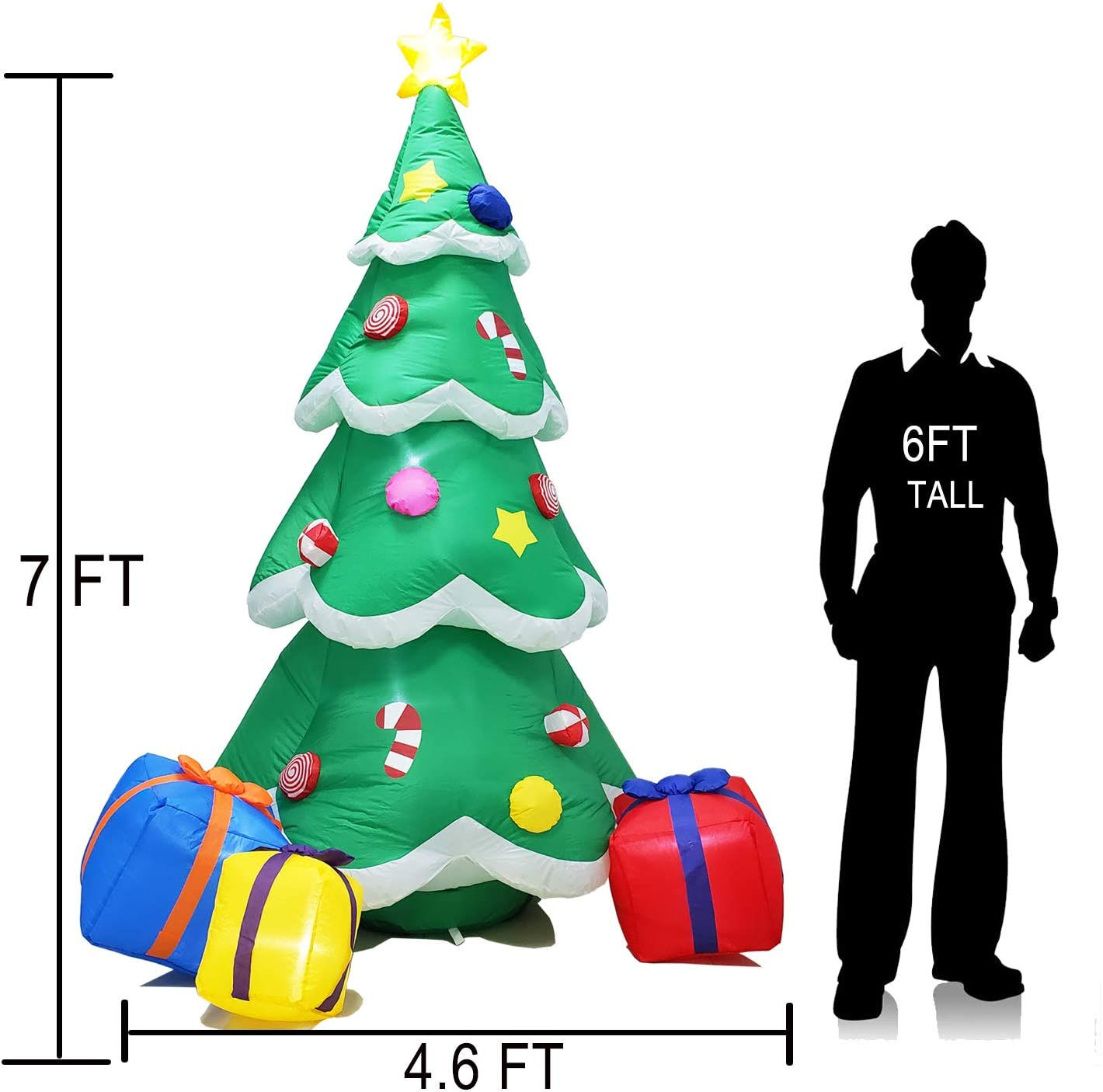 Green Xmas Tree with 3 Colors Changing LED Lights Airblown Yard Decorations ShinyDec Christmas Inflatables 9ft