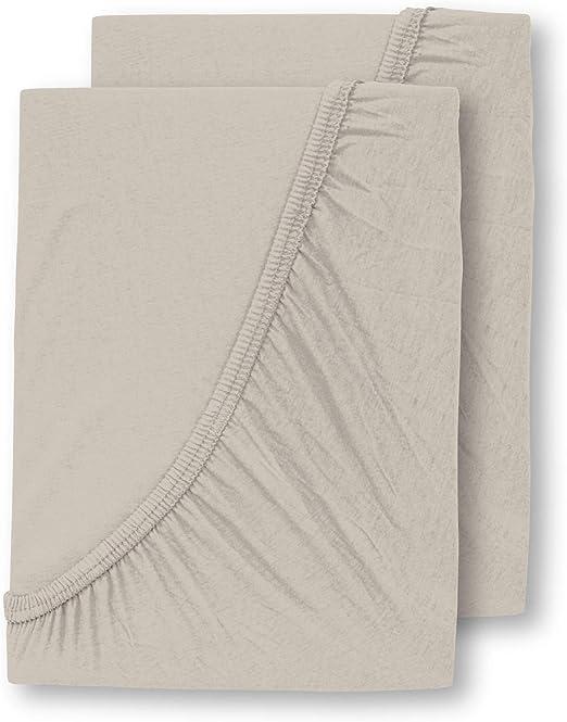 WOMETO - 2 sábanas bajeras de Jersey de 90 x 200-100 x 200 ...