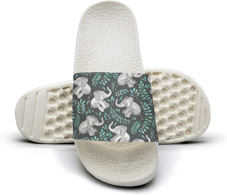 Mens Watercolor Wolf Non-Slip Soft Foams Slipper Home Slide Sandals