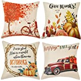 WLNUI Thanksgiving Fall Pillow Covers 18x18 Inch Set of 4 AutumnTheme Farmhouse Decorative Throw Pillow Cushion Cases for Cou