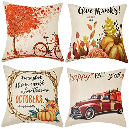 WLNUI Set of 4 Pillow Covers,Fall Cotton Linen Throw Pillow Covers,Maple Leaf Autumn Theme Decor Pillow Cushion Cases for Sofa, Couch, Bed and Car, 18x18 Inch 45x45 cm best autumn throw pillows