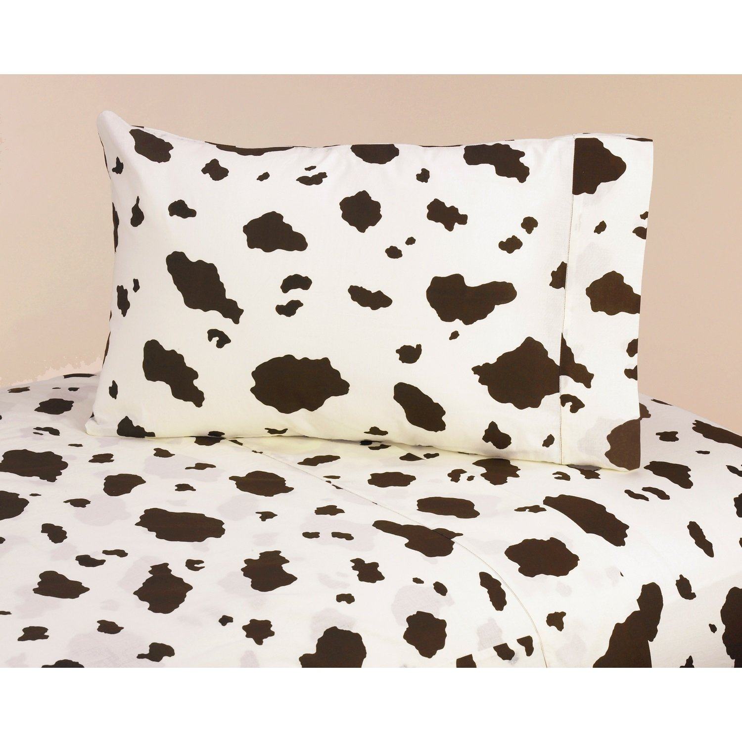 3 Piece Wild Western Printed Cow Patterned Sheet Set Twin Size, Featuring Abstract Rustic Animal Cows Print Bedding, Bold Vintage Earthy Design, Exotic Fine West County Style Bedroom, Brown, Cream