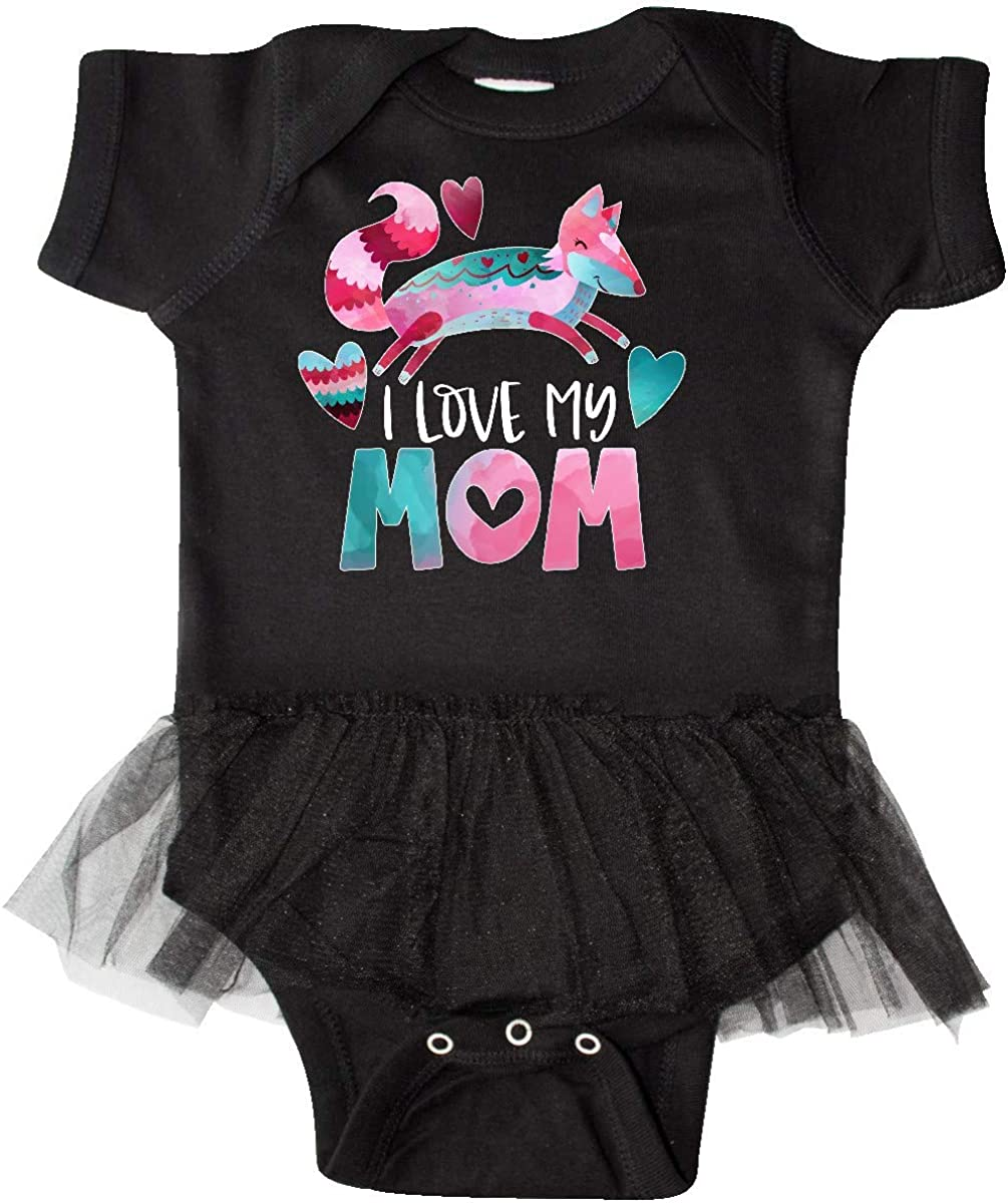 inktastic I Love My Mom Pink and Blue Fox with Hearts Infant Tutu Bodysuit