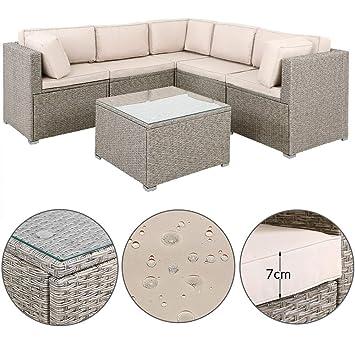 Canapé Lounge 20 pièces Gris - Beige Coussin Table Plateau ...