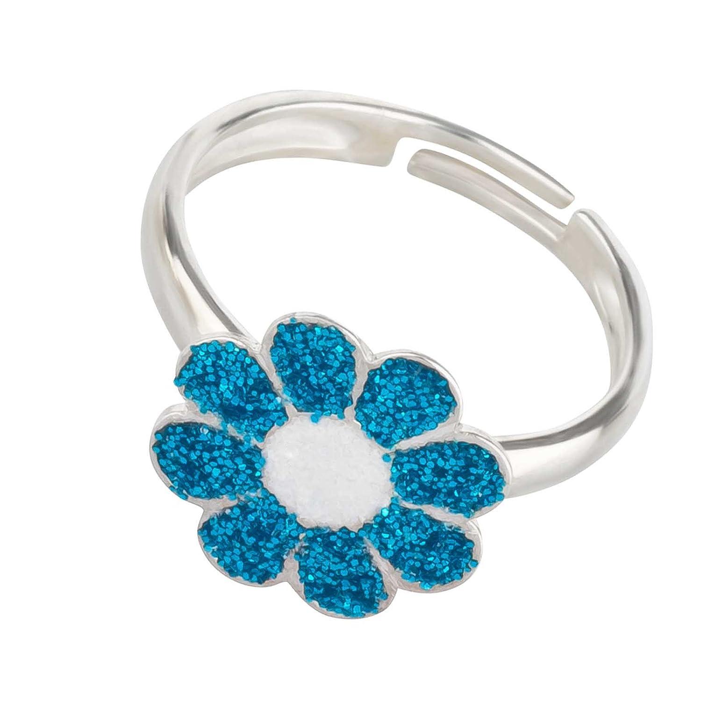 SL-Silver Mädchen Damen Ring Glitzer Blume Grösse einstellbar 925 Sterling Silber in Geschenkverpackung SL-kinderring24b