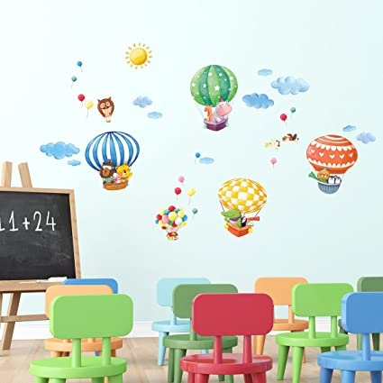 Amazon com decowall da 1406b animal hot air balloons kids wall decals wall stickers peel and stick removable wall stickers for kids nursery bedroom living