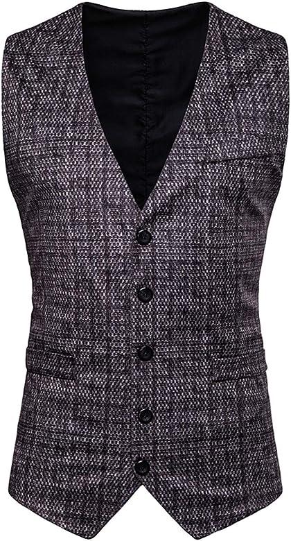 AIEOE - Chaqueta de Traje Chaleco Blazers para Hombre sin Mangas con Botón Suit Slim Ropa Elegante para Boda Fiesta para Hombres