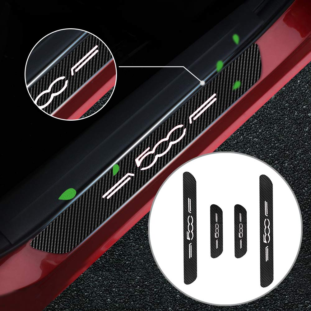 Battitacco Auto Esterno Batticalcagno per Spider 500//C//X//L Adesivi delle Soglie delle Porte in Fibra di Carbonio Bianco 4 Pezzi